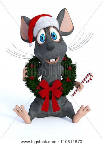 Cartoon Mouse Wearing Christmas Wreath And Holding Candy Cane.
