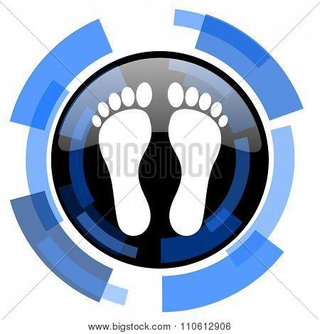 foot black blue glossy web icon