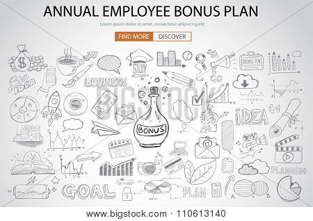 Employee Bonus Benefit Plan concept with Doodle design style online purchases, banking, money spending. Modern style illustration for web banners, brochure and flyers.