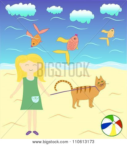 Alice and Timothy the cat near the sea