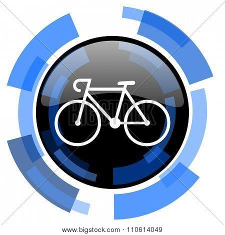 bicycle black blue glossy web icon