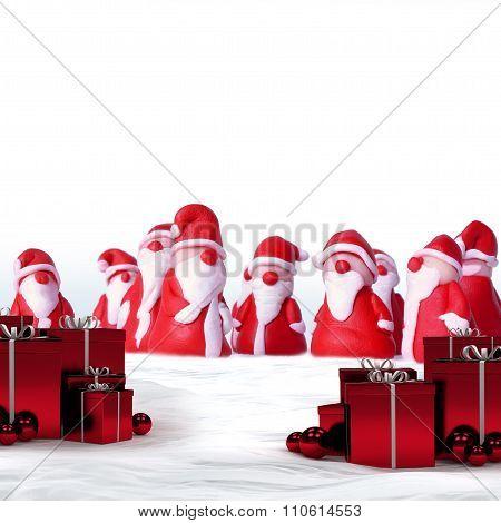 santas and christmas gifts