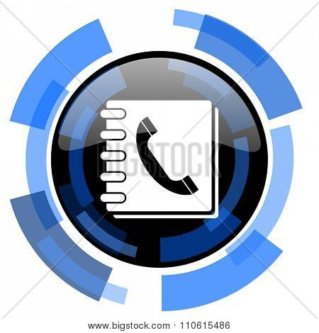 phonebook black blue glossy web icon