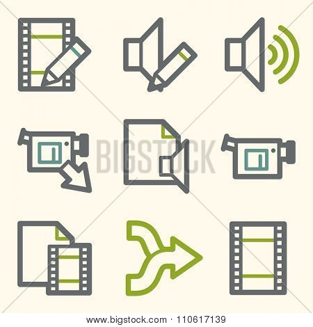 Audio video web icons, sound and cinema, music and player, stock vector