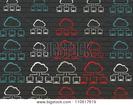 Cloud technology concept: Cloud Network icons on wall background