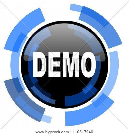 demo black blue glossy web icon