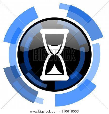 time black blue glossy web icon
