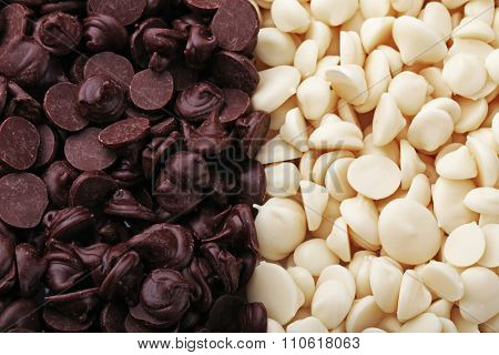 Chocolate morsels, close-up