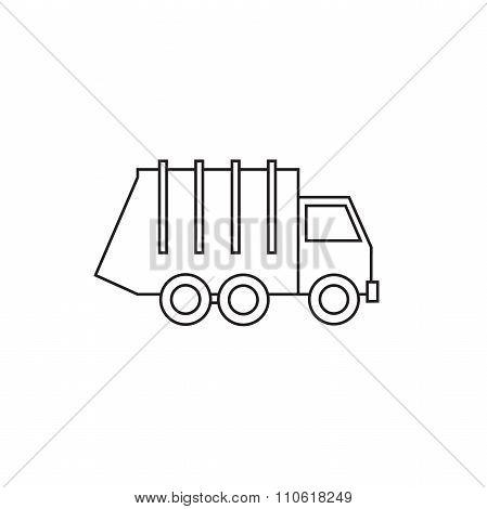 Garbage truck thin line