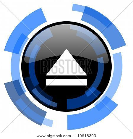 eject black blue glossy web icon