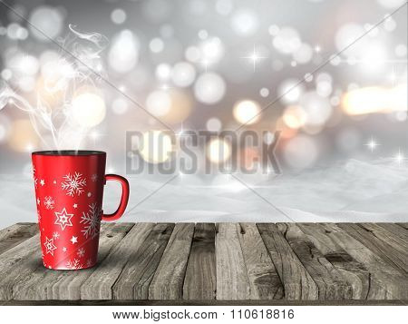 3D render of a steaming Christmas mug against a snowy bokeh lights background