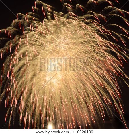 Yellow Fireworks In The Sky