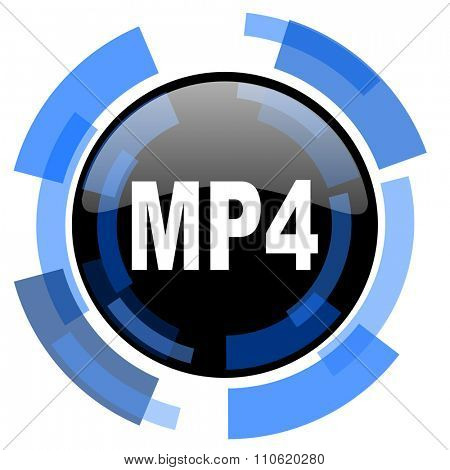 mp4 black blue glossy web icon