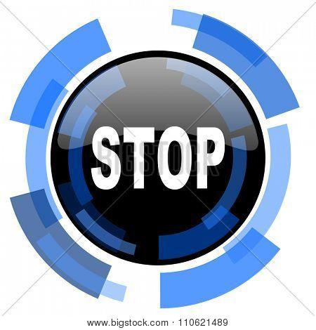 stop black blue glossy web icon