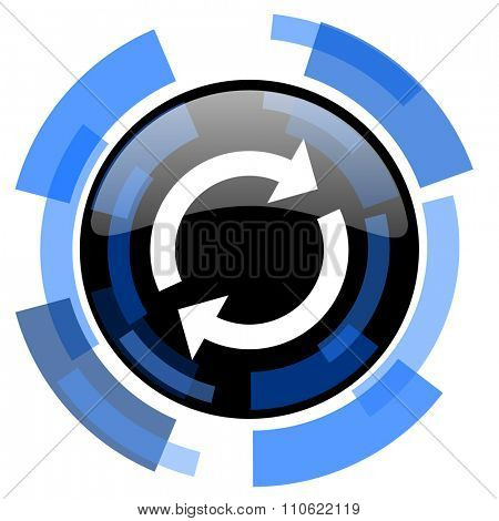 reload black blue glossy web icon