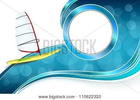 Background abstract sea sport holidays design red green windsurfing blue circle frame illustration