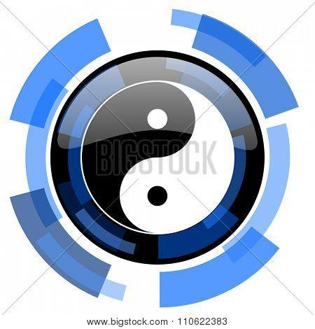 ying yang black blue glossy web icon