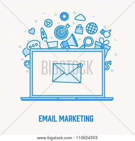email infographic concept thin blue line design