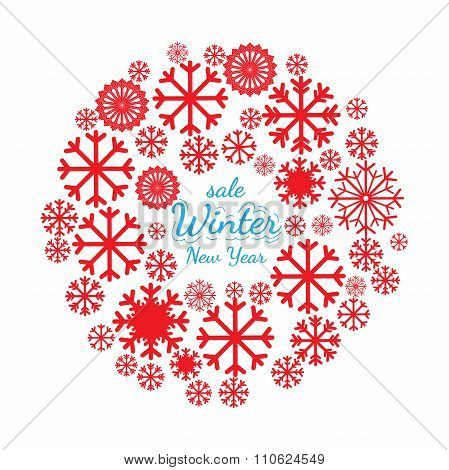 Christmas Banner, With Snowflakes Space Text
