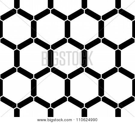Vector modern seamless sacred geometry pattern honeycomb black and white abstract