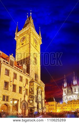 Astronomical Clock (staromestske Namesti) On Historic Square In The Old Town And Church Of Our Lady.