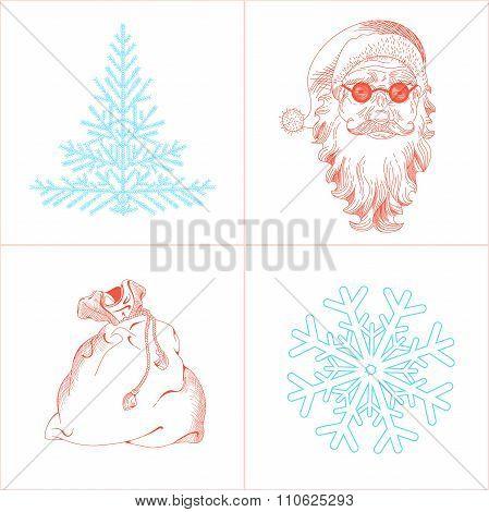 Christmas Snowflake, Santa Claus, Fir-tree, Bag