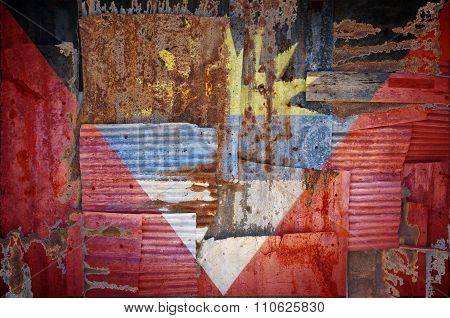 Corrugated Iron Antigua And Barbuda Flag