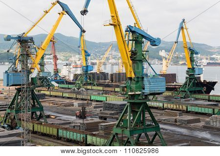 Cargo handling of metal on ship in port of Nakhodka, Russia.