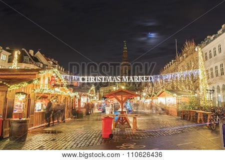 Christmas Market Near Stork Fountain Of Copenhagen