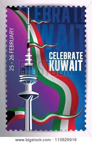 Celebrate Kuwait - Liberation Tower And Flags Stamp