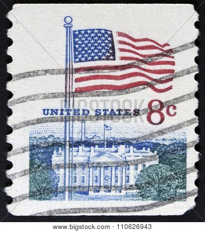 The white house on a stamp