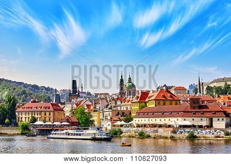 Prague,czech Republic- September 13, 2015: View Of Prague Lesser Town ( Little Town),vltava River An