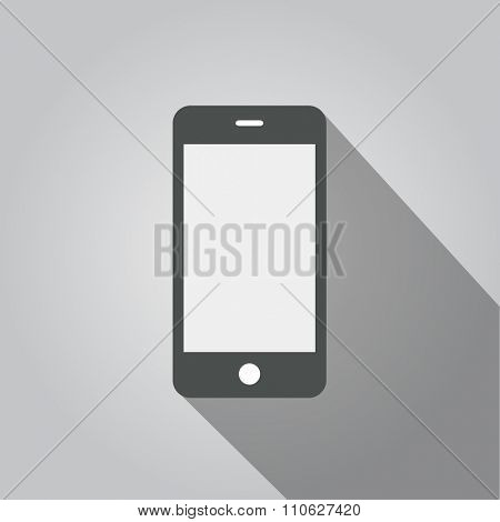 Smartphone long shadow vector illustration