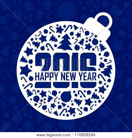 2016 Happy New Year blue greeting card.Vector illustration.