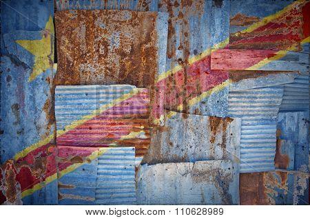 Corrugated Iron Congo Kinshasa Flag