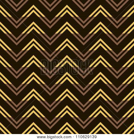 Stylish Seamless Pattern Of Yellow And Brown Zigzag On Black Background