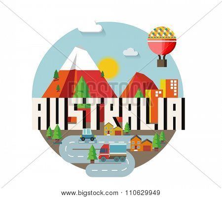 Australia is a beautiful country to visit. vintage vector illustration.