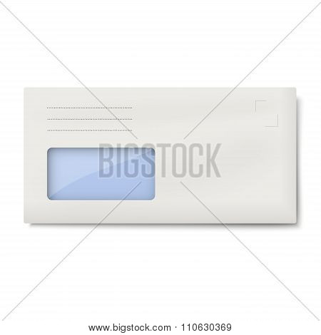 Dl Envelope With Window For Address Isolated On White Background