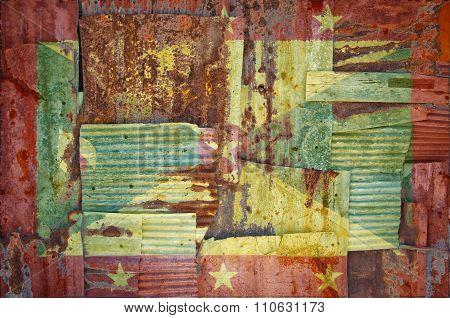 Corrugated Iron Grenada Flag