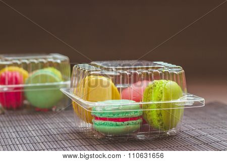 Macaroons In The Plastic Box
