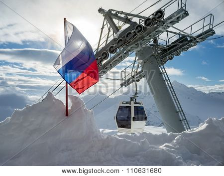Flag Of The Russian Federation In Mountains Elbrus