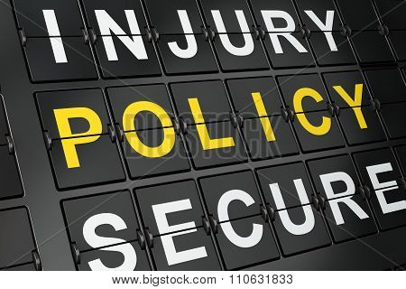 Insurance concept: Policy on airport board background
