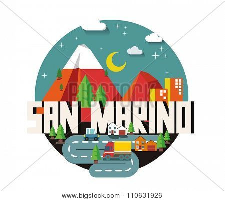 San Marino in europe is a beautiful country to visit. vintage vector illustration.