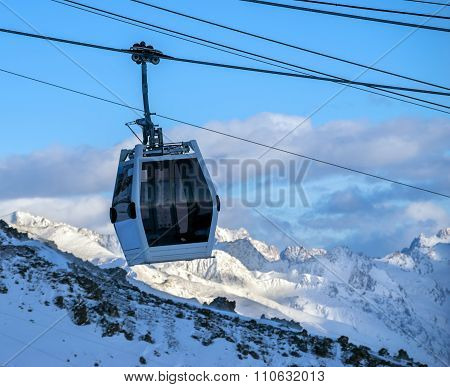 Silhouette Cableway In Motion In Morning