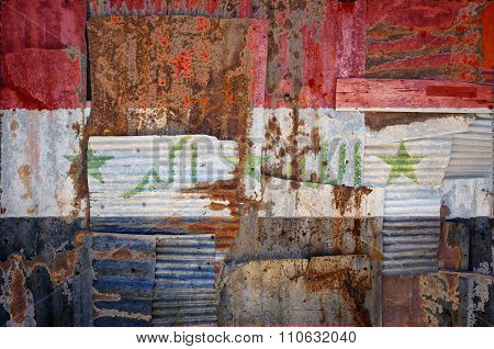 Corrugated Iron Iraq Flag