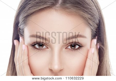 young woman eyes and nose portrait face with sexy lips