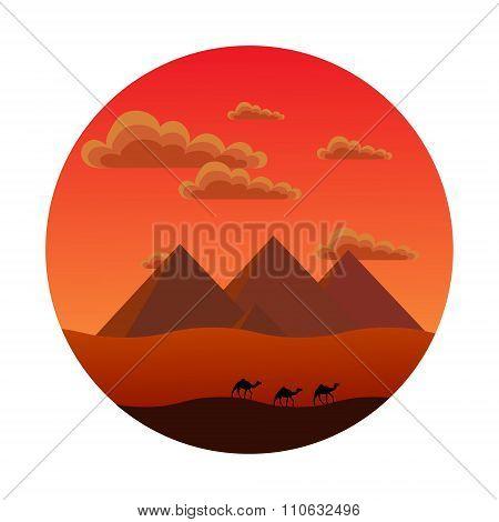 Egyptian pyramids. sunset