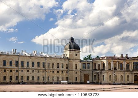 Russia Gatchina parade ground before palace clouds