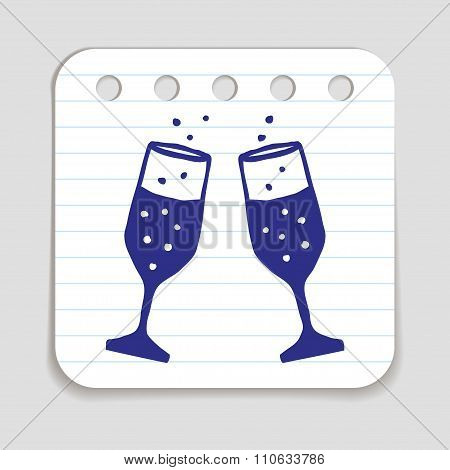 Doodle Champagne Glasses icon