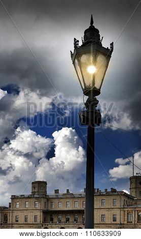 Lantern on the square in front of the palace. Gatchina. St. Petersburg. Russia.